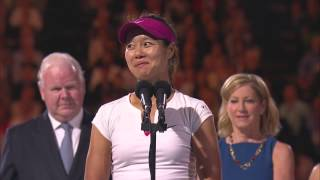 Li Na entertains the crowd with a funny speech after her women's singles final victory. Li defeated Cibulkova to take out her first...