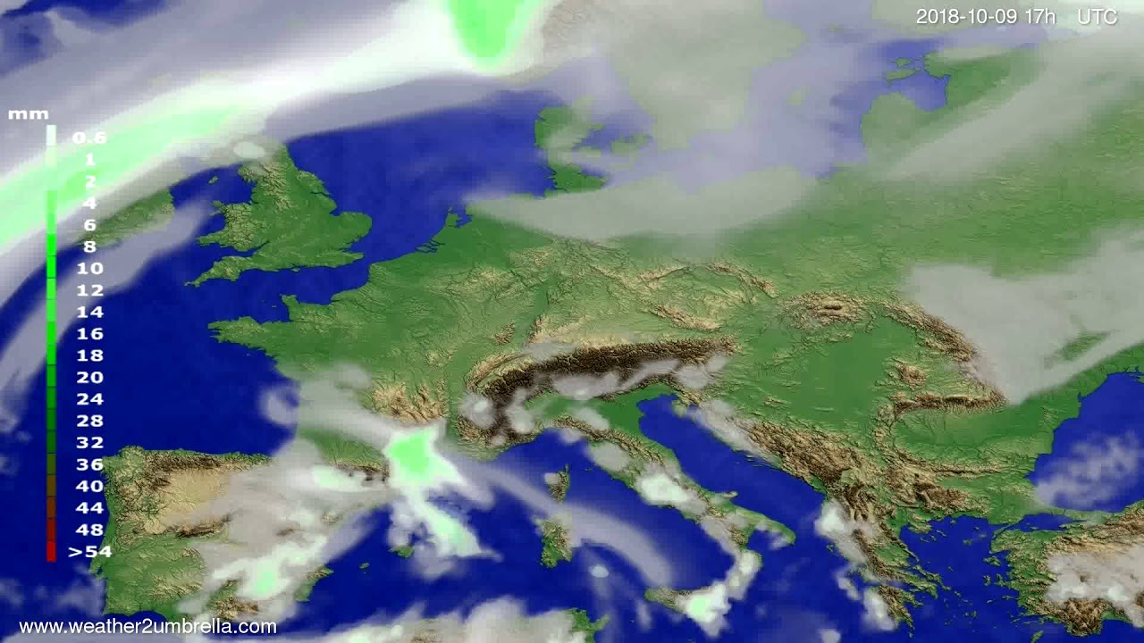 Precipitation forecast Europe 2018-10-07