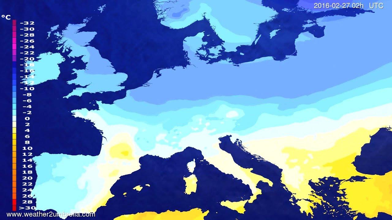 Temperature forecast Europe 2016-02-23