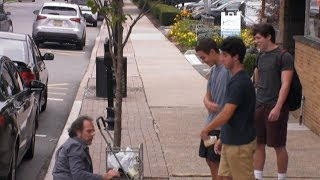 Teen boys verbally, emotionally abuse homeless person l What Would You Do