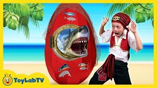 It's Sharky vs. Pirate Aaron & Pirate LB as they open a GIANT life-size SHARK surprise egg with shark surprise toys inside!