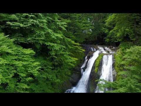 夏の霧降の滝 ドローン空撮