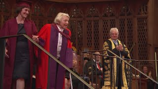 Peggy Styles receives a doctorate from the University of Bristol after leaving school in 1946 with no qualifications. Report by Charlotte Brehaut.