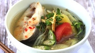 Vietnamese sweet and sour fish soup (Canh chua)