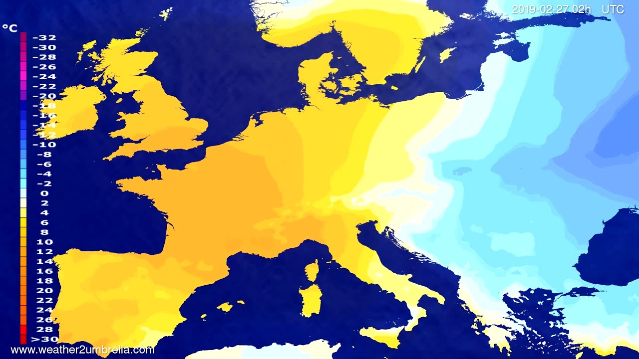 #Weather_Forecast// Temperature forecast Europe 2019-02-25