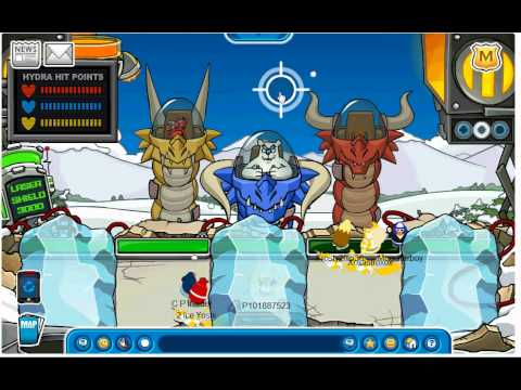 Club Penguin  - How to defeat Herbert's Hydrabot - Medieval Party EPF Battle of Doom