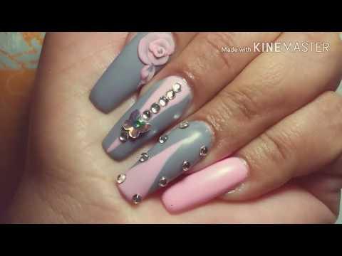 Uñas acrilicas - Uñas acrílicas con diseño tono roza con gris en mate / by sabrina