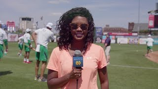 The @NDSportsBlogger, Tamara Brown, takes you behind the scenes of Notre Dame Football's charity softball game versus local ...
