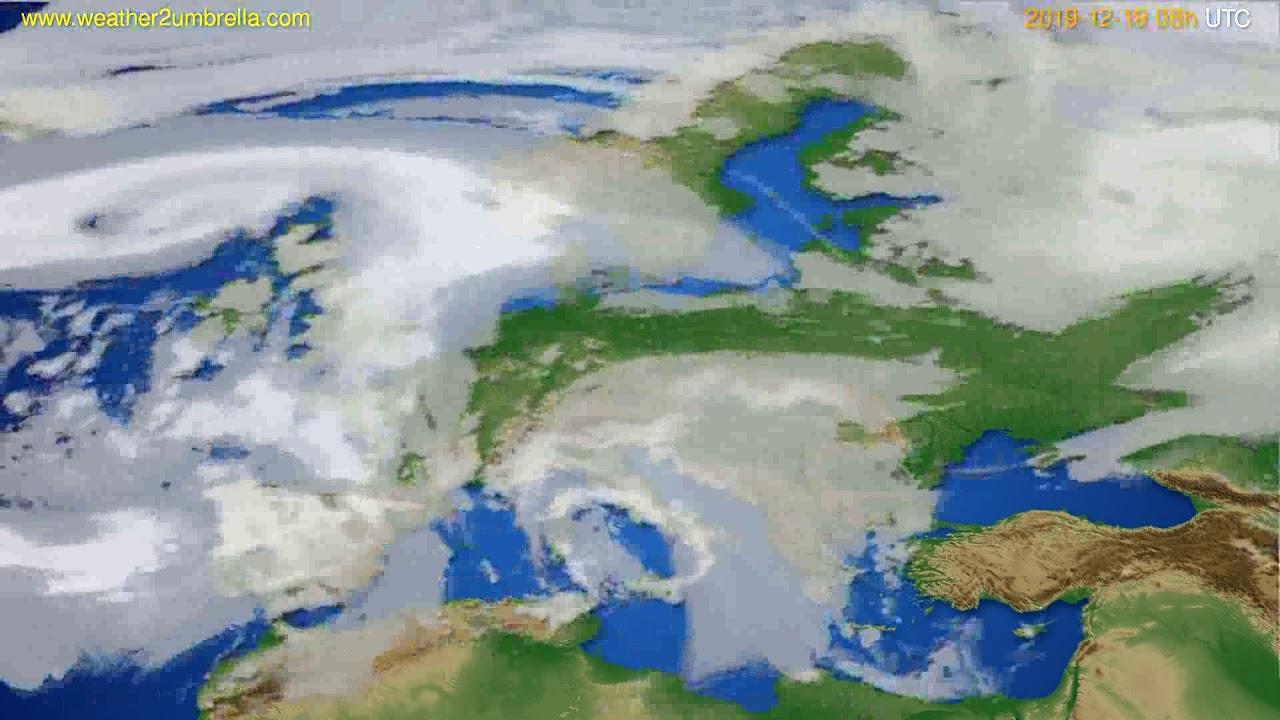 Cloud forecast Europe // modelrun: 12h UTC 2019-12-18