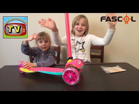 FASCOL MONOPATTINO Skateboard Scooter pieghevole 3 ruote per bambini da 2 a 5 anni Anastasia e Lisa