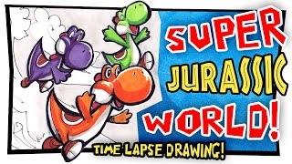 SUPER JURASSIC WORLD! - time-lapse drawing