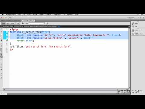 Dreamweaver CC And Wordpress Tutorial #27 Working With Search Text
