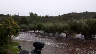 Flood in Toroni (Greece) studios near Destenika beach 17.07.2017.