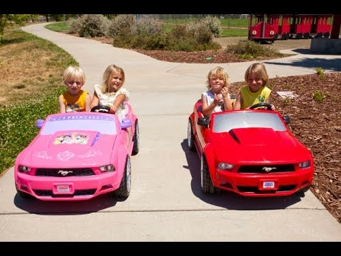 Sidewalk - We finally match up the two stock Power Wheels Mustangs for another kids ride on car race... the standard Ford Mustang vs the Disney Princess Ford Mustang! C...