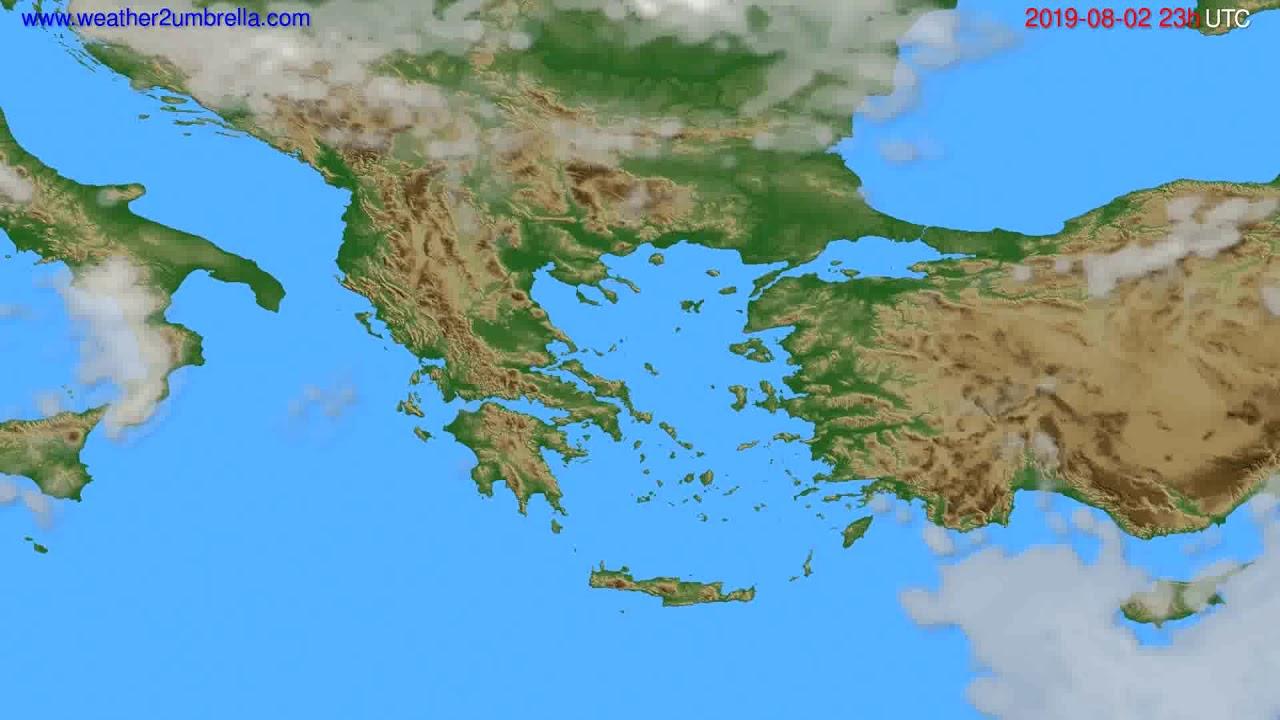 Cloud forecast Greece // modelrun: 12h UTC 2019-07-30