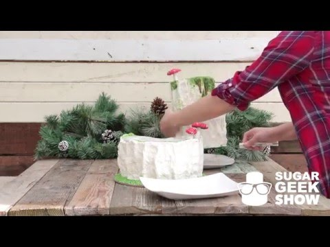 Cutting the Plaid Lumberjack Wedding Cake