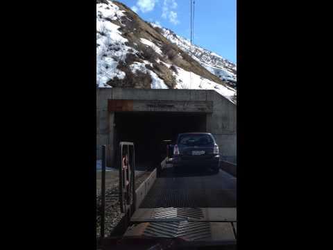 Andermatt car on train Switzerland Furkatunnel