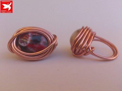 DIY: ANILLO DE ALAMBRE DE ALUMINIO CON PIEDRA. Ring handmade