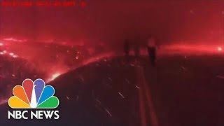 Watch Dramatic Video Of Officer's Bodycam During Wildfire Evacuations | NBC News