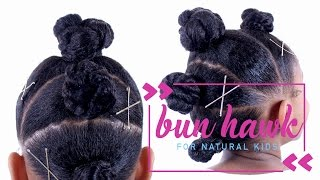 """In this video I show you how to create a """"BUN HAWK"""" with the Eden BodyWorks Kids collection, http://bit.ly/etcEDEN. [ USE COUPON CODE: """"etcblogmag"""" TO SAVE $5 ]/ / / / / / / / / / / / / / / / / / / / / / / / / / / / PRODUCT USED1 EDEN BODYWORKS KIDS- LEAVE IN DETANGLING SPRAYhttp://bit.ly/etcEDEN2 WIDE TOOTH COMBhttp://go.magik.ly/ml/gmv/3 EDEN BODYWORKS KIDS CURLY CREMEhttp://bit.ly/etcEDEN4 FELICIA LEATHERWOOD DETANGLING BRUSHhttp://bit.ly/etcFELICIA5 EDEN BODYWORKS KIDS SMOOTHING GELhttp://bit.ly/etcEDEN6 DIANNE BY FROMM SOFT BRISTLE BRUSHhttp://go.magik.ly/ml/4o9j/7 GOODY ELASTIC BANDShttp://go.magik.ly/ml/2hjo/8 GOLD BOBBY PINS- H&Mhttp://go.magik.ly/ml/4o15/9 EDEN BODYWORKS EDGE CONTROLhttp://bit.ly/etcEDEN/ / / / / / / / / / / / / / / / / / / / / / / / / / / / TAYLOR & SKYLAR'S CHANNEL https://goo.gl/CquWtHFOLLOW DEVON @devonbeck365DEVON'S MUSIC ON iTUNES: https://goo.gl/ZiyEHlNATURAL HAIR T-SHIRTS & MOREhttp://www.etcboutique.spreadshirt.comB L O G   http://www.etcblogmag.comS N A P C H A T /etcblogmagI N S T A G R A M   @etcblogmagT W I T T E R  @etcblogmagF A C E B O O K  /etcblogmagSTYLEHAUL PARTNER  http://www.youtube.com/stylehaul"""