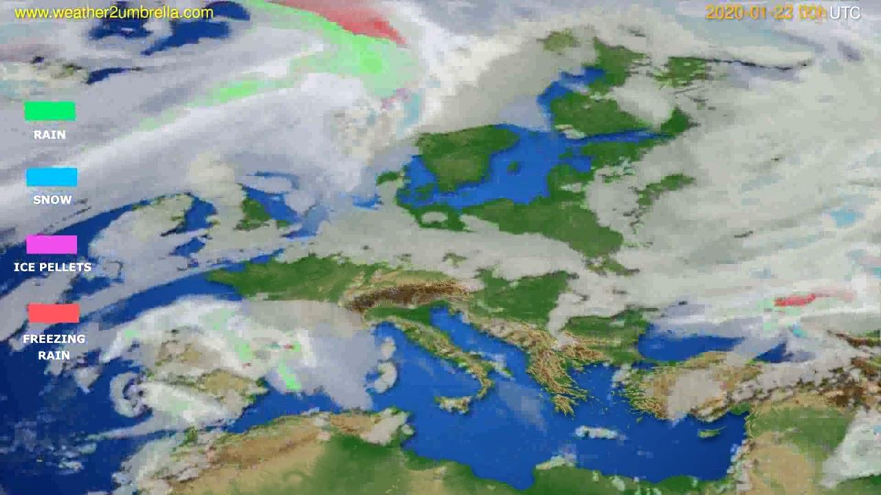 Precipitation forecast Europe // modelrun: 00h UTC 2020-01-22