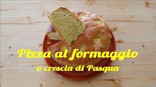 Ricetta marchigiana della torta salata più tipica del periodo pasquale.Tempo di preparazione circa 30 minuti. Lievitazione circa 2 ore. Cottura 45-50 minuti.Ingredienti:6 uova6g di sale2g di pepeuna cartina di zafferano2-3 cucchiai di olio d'oliva1 bicchiere di acqua tiepida25g di lievito di birra150g di pecorino romano grattugiato o anche parmigiano150g di formaggio coi buchi tagliato a dadini (io preferisco l'olandese)500g di farina tipo 0Si può iniziare la lavorazione in una ciotola, trasferire poi l'impasto sulla spianatoia e lavorarlo fino a che si stacca bene dalla superficie.Per la cottura io utilizzo una tortiera ad anello apribile, con le superfici unte, così la pizza esce più facilmente.