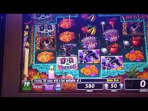 Big Win! Dia de los Muertos slot machine bonus round at Sands casino