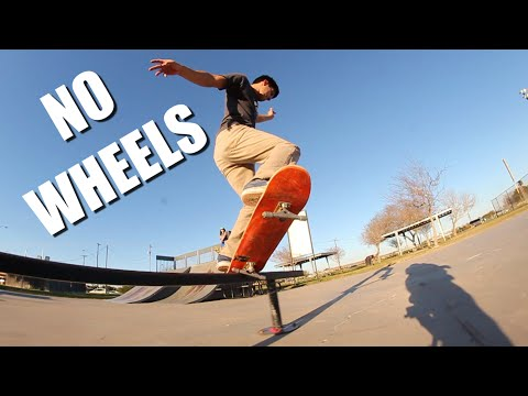 Skateboarding on only bearings