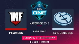 Infamous vs Evil Geniuses, ESL One Katowice, game 2 [Lum1Sit, Autodestruction]
