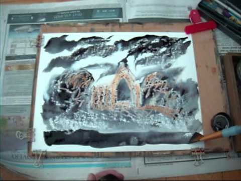 Painting with Martin Williamson - Wax crayons and 'Quink' ink