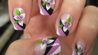 Nail art: Tricolor french with flower - YouTube