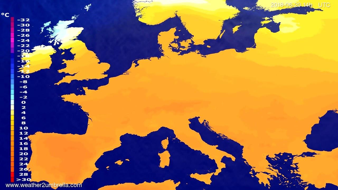 Temperature forecast Europe 2018-06-16