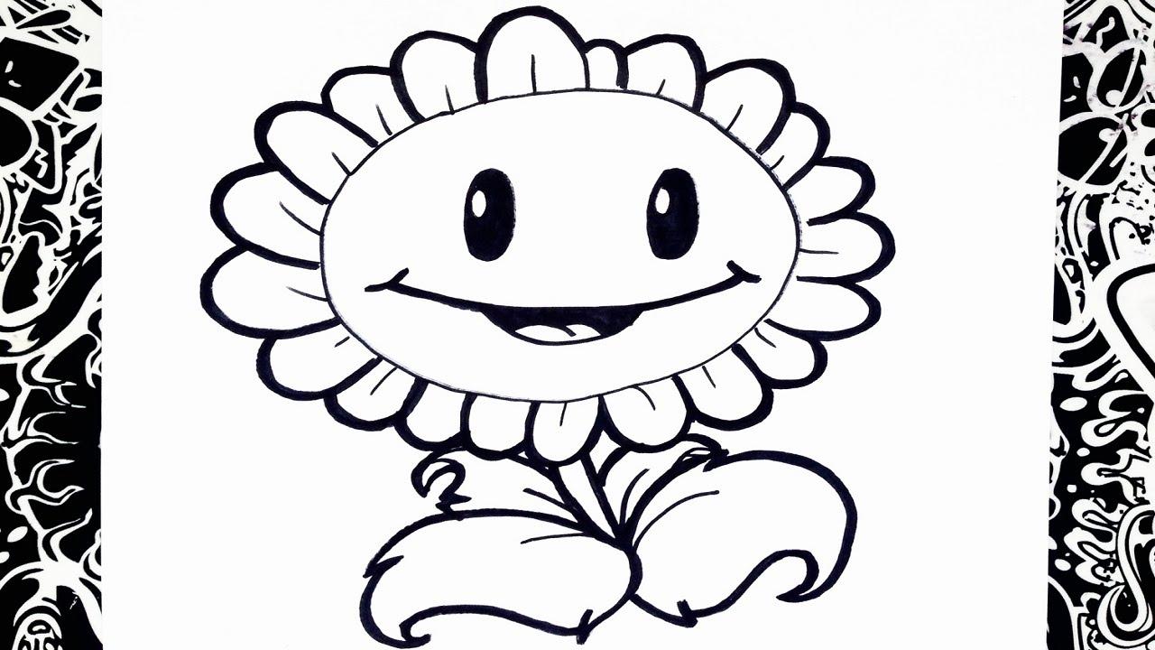 Como dibujar un girasol plantas vs zombies   how to draw sunflower ...