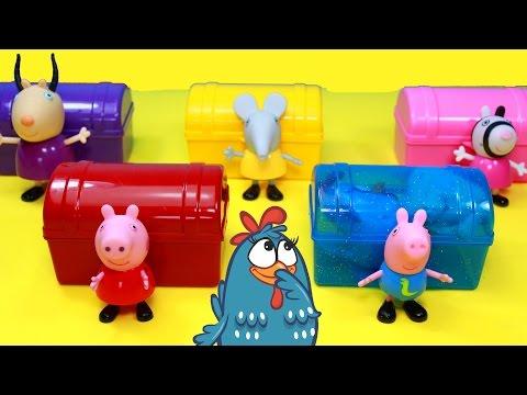 Galinha Pintadinha Peppa Pig George Caixas Surpresas Brinquedos Copos Portugues