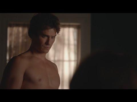 Vampire Diaries Season 7 - The Vampire Diaries: 7x03 - Damon shirtless talks with Bonnie and Alaric about Elena [HD]