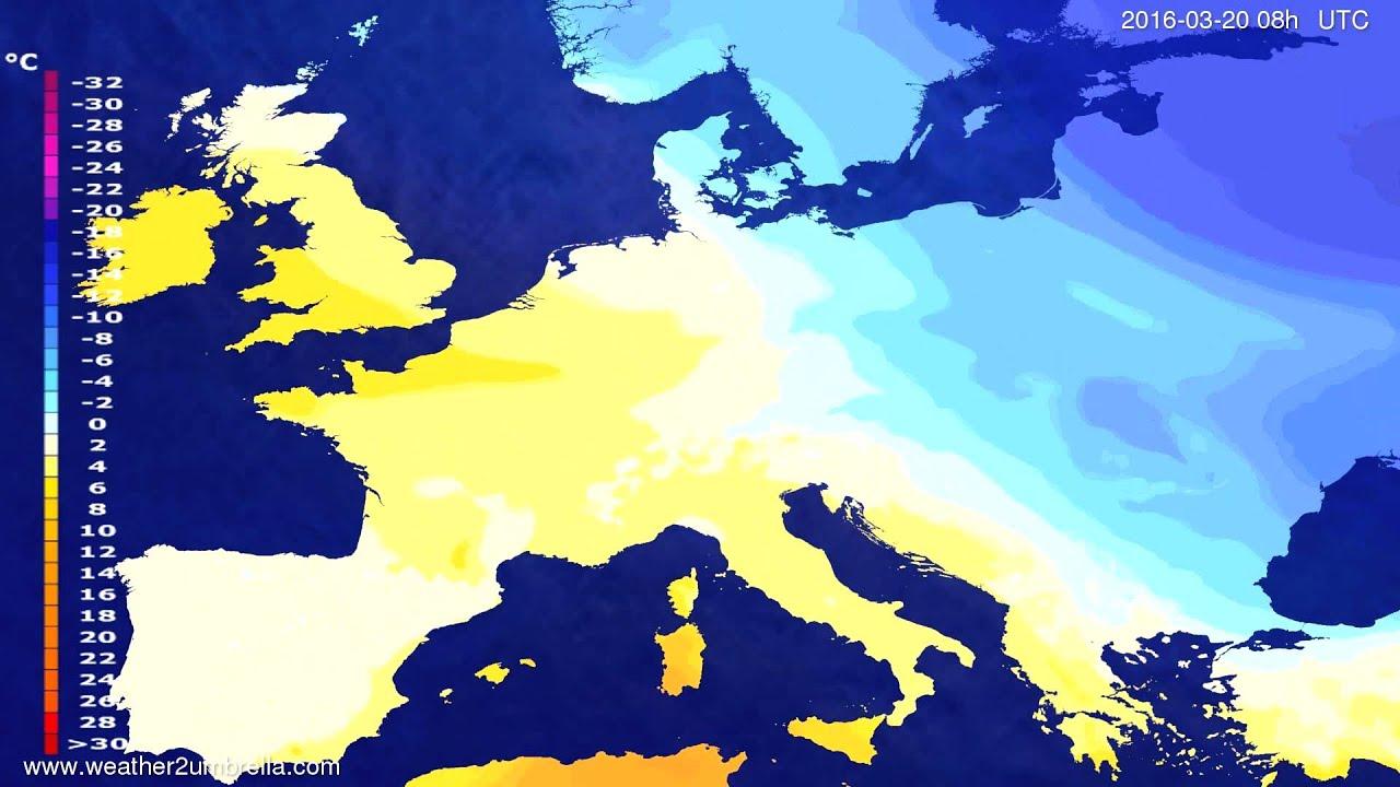 Temperature forecast Europe 2016-03-17