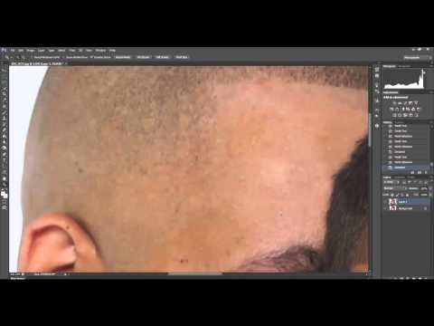 Removing sweat from a portrait.