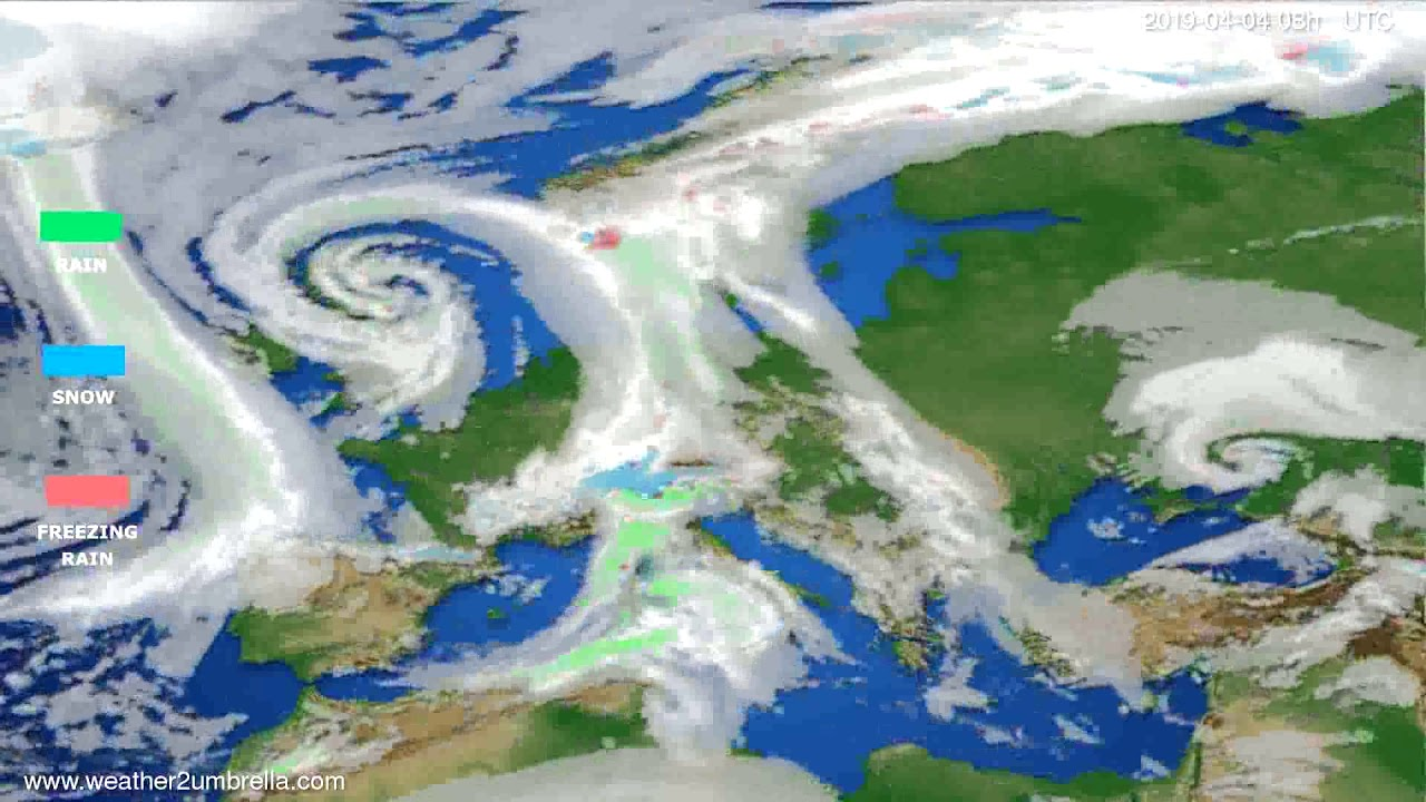 Precipitation forecast Europe 2019-04-01