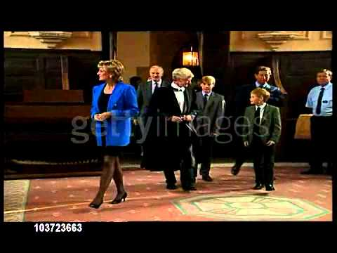 eton - Diana, Prince Charles, and Harry escort William for his 1st day at Eton. After William signed the school pupil registration book, the family posed for photos...
