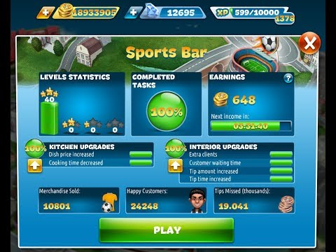 Cooking Fever-Sports Bar Level 1-40(3 Stars)