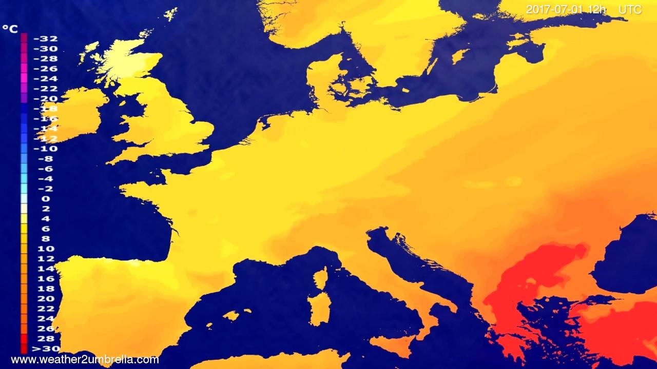 Temperature forecast Europe 2017-06-29