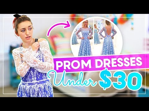 Trying on PROM DRESSES UNDER $30 from AMAZON and EBAY! (видео)