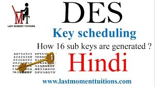 DES (Data encryption standard ) key Generation in Hindi |Cryptography and Network Security Lectures