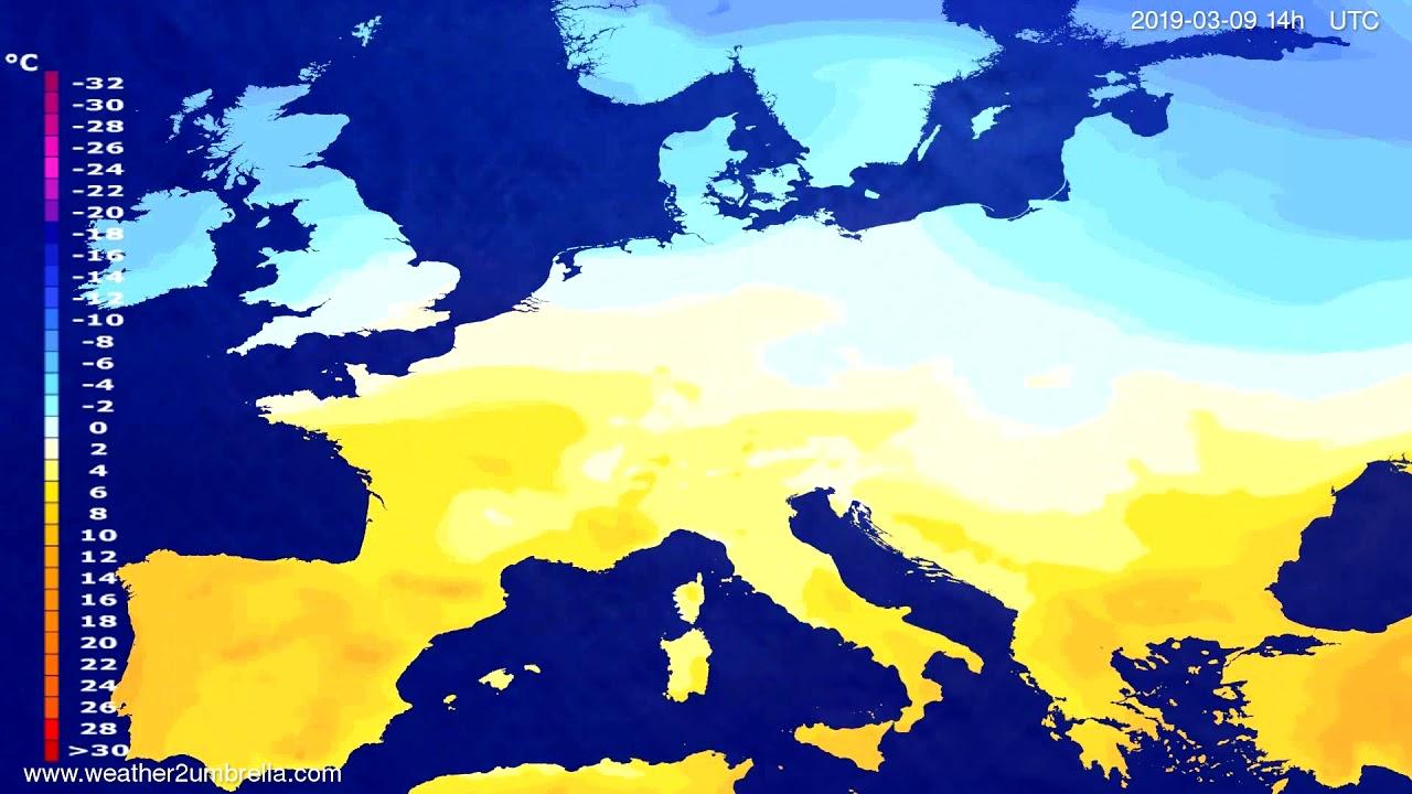 #Weather_Forecast// Temperature forecast Europe 2019-03-07