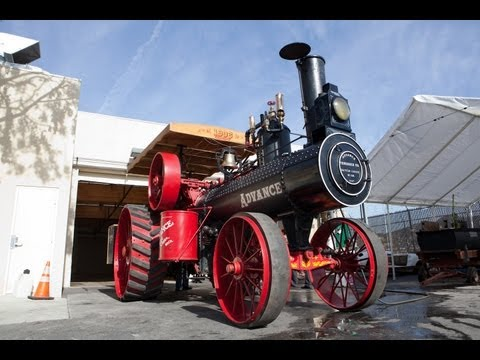 steam - 1906 Advance Steam Traction Engine. Lovingly restored by Jay's friend Orman Rawlings, this 104-year-old steam-powered vehicle weighs 13 tons and clocks about...