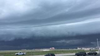 An impressive line of thunderstorms moves across the flight line at Patrick Air Force Base near Cocoa Beach, Florida.  Filmed in 4k Ultra HD July 8th, 2017.