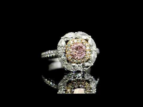 GIA Certified 1.00ct Cushion Cut Natural Faint Pink Diamond Ring