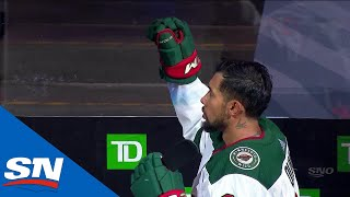 Matt Dumba Raises Fist During Both American & Canadian National Anthems by Sportsnet Canada