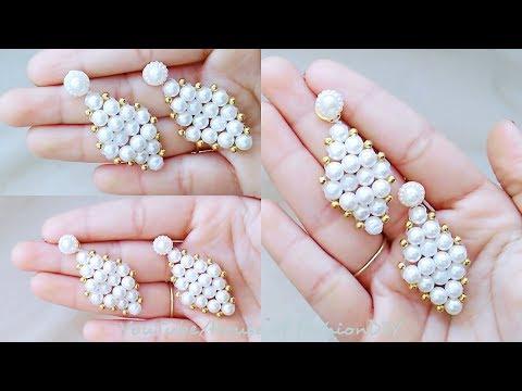 How To Make Pearl Dangle Earrings||Making Of Pearl Earrings At Home..!
