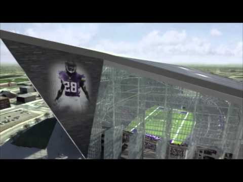 stadium - Take a virtual fly through the design for the newly released Minnesota Vikings stadium.